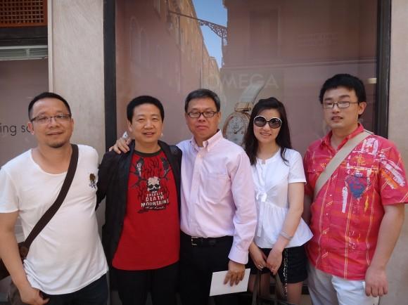 威尼斯街頭:張子康;餘德耀夫婦;周欣;桑火堯